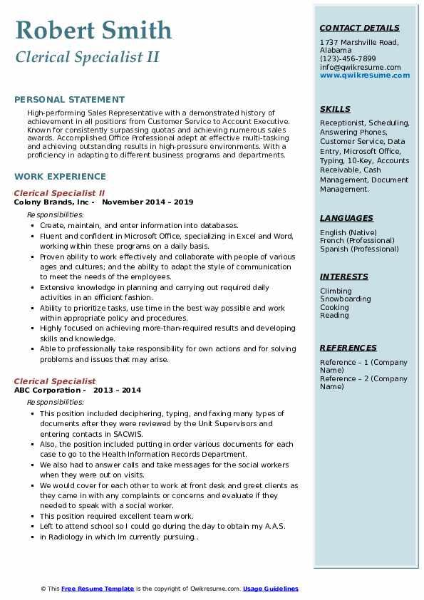 Clerical Specialist II Resume Sample