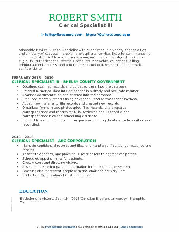 Clerical Specialist III Resume Template