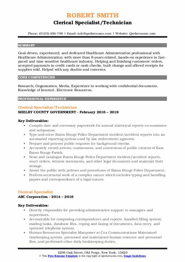 Clerical Specialist/Technician Resume Format
