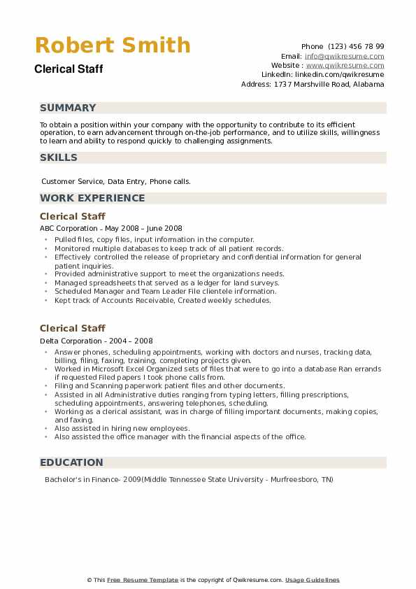 Clerical Staff Resume example