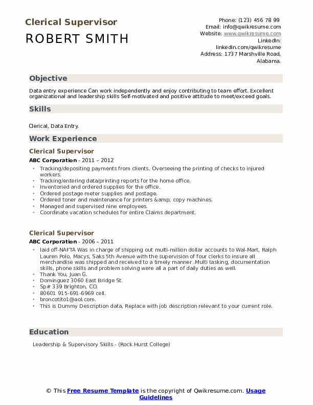Clerical Supervisor Resume example