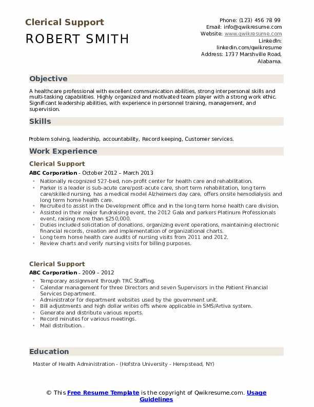 Clerical Support Resume Template