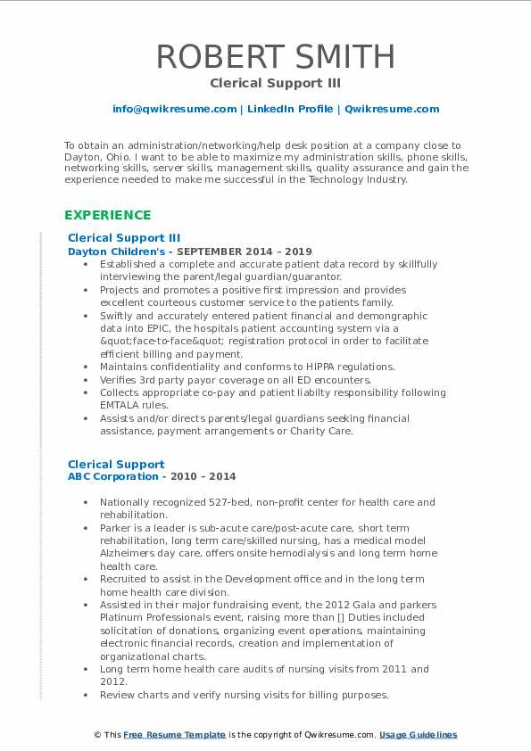Clerical Support III Resume Sample