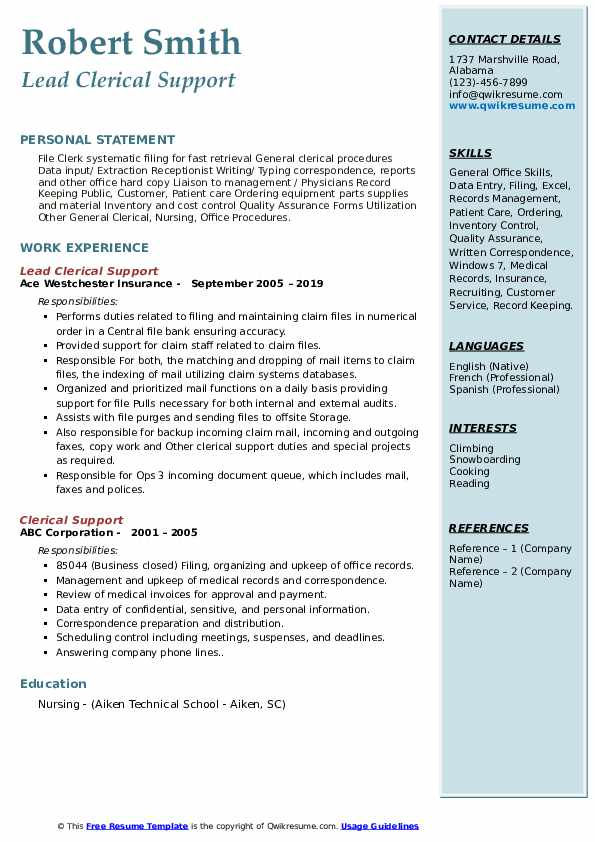 Lead Clerical Support Resume Sample