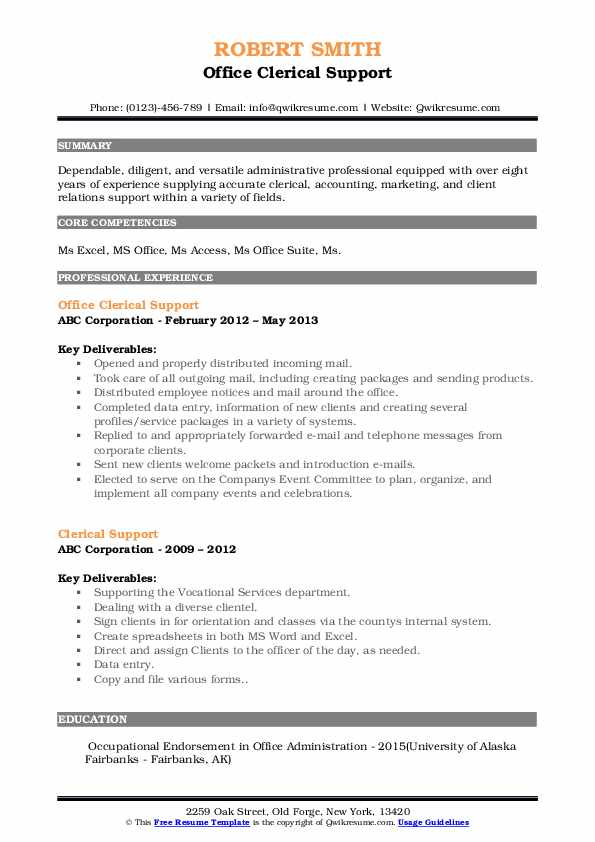 Office Clerical Support Resume Template