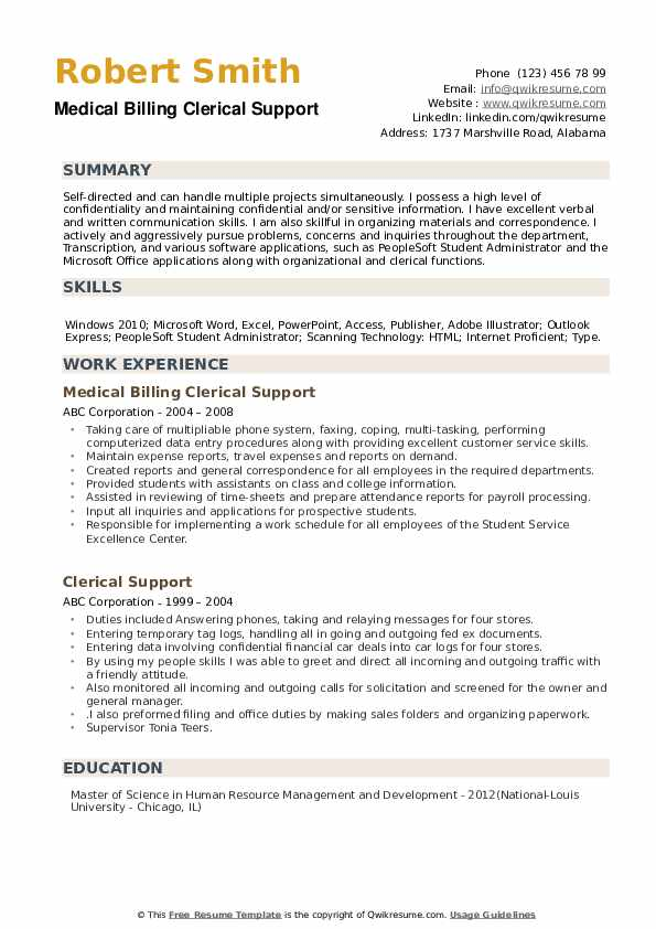 Medical Billing Clerical Support Resume Template