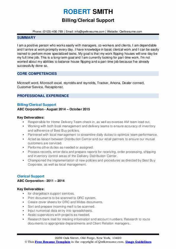 Billing/Clerical Support Resume Model