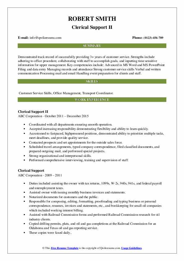 Clerical Support Resume example