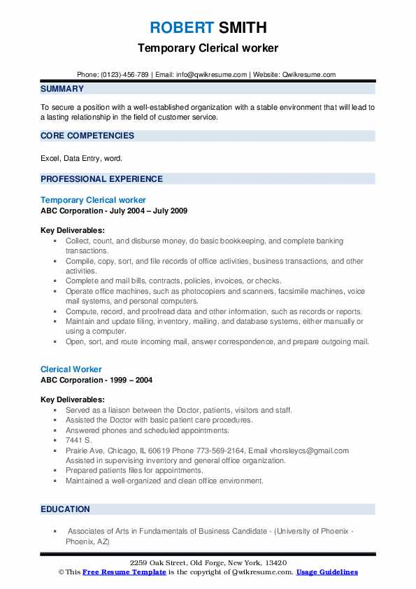 Temporary Clerical worker Resume Model