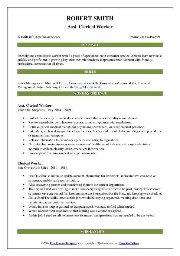 Asst. Clerical Worker Resume Template