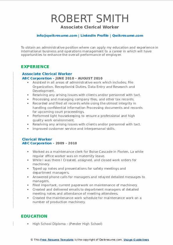 Associate Clerical Worker Resume Sample