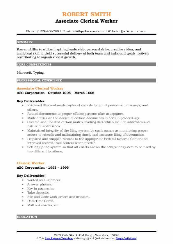 Associate Clerical Worker Resume Example
