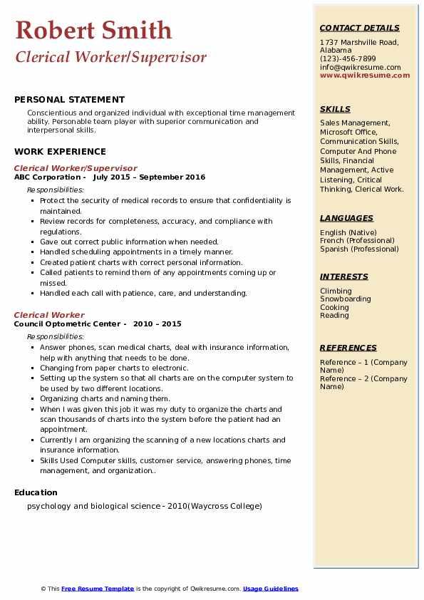 Clerical Worker/Supervisor Resume Model