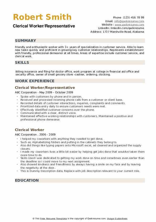 Clerical Worker/Representative Resume Model