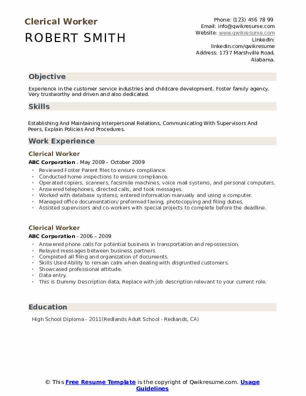 Clerical Worker Resume example