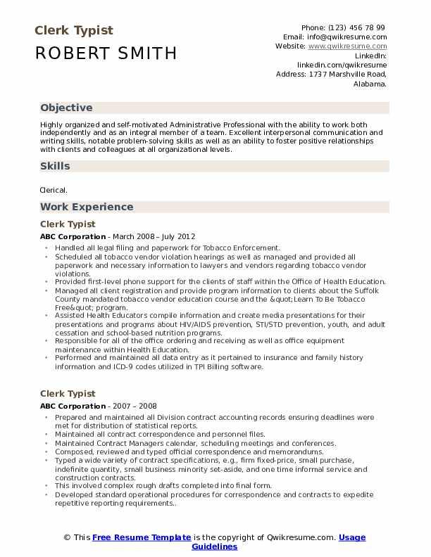 Clerk Typist Resume Format