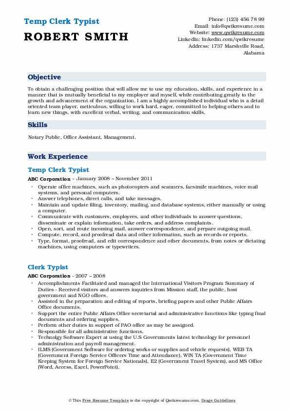 Temp Clerk Typist Resume Template