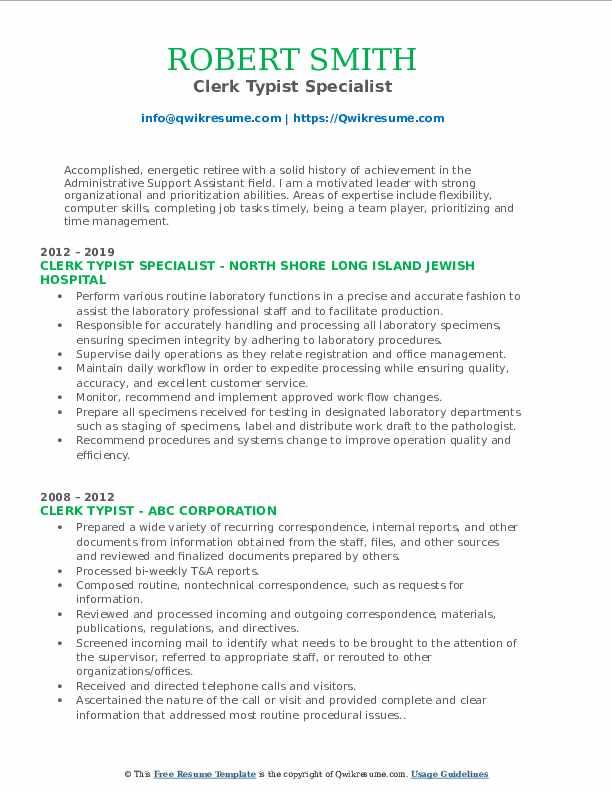 Clerk Typist Specialist Resume Format