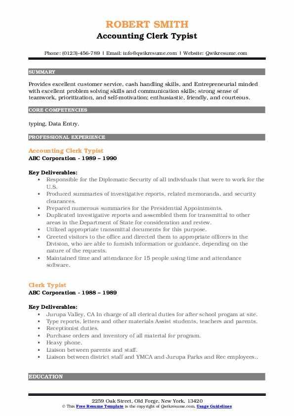 Accounting Clerk Typist Resume Sample