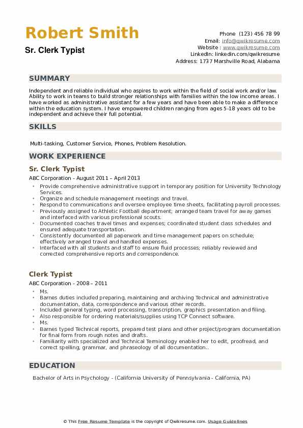 Sr. Clerk Typist Resume Format