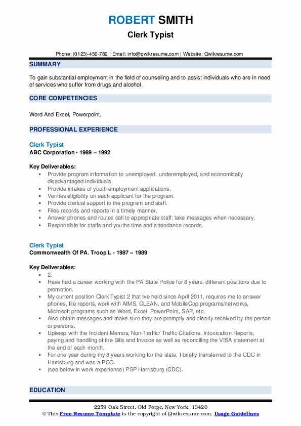 Clerk Typist Resume example