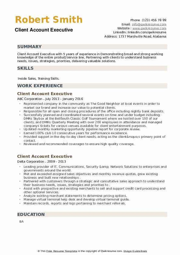 Client Account Executive Resume example