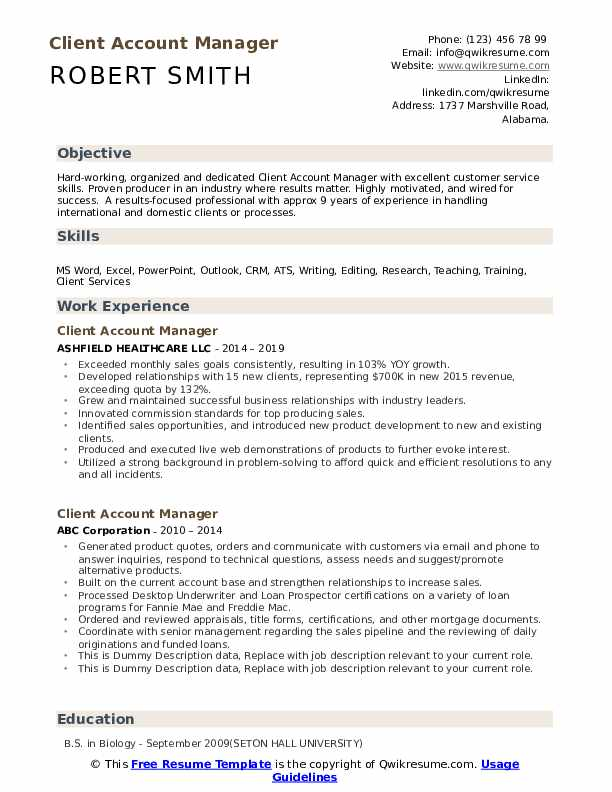 Client Account Manager Resume example