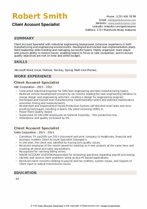 Client Account Specialist Resume example