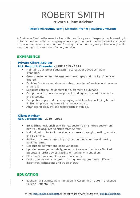 Private Client Advisor Resume Model