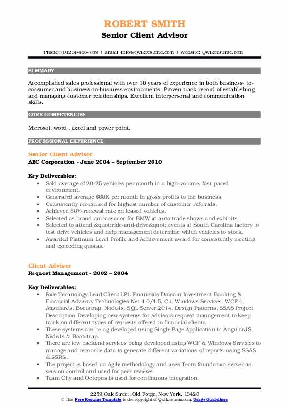 Senior Client Advisor Resume Model