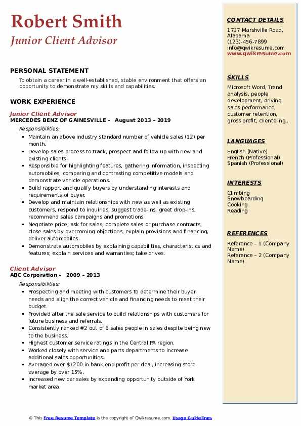 Junior Client Advisor Resume Template