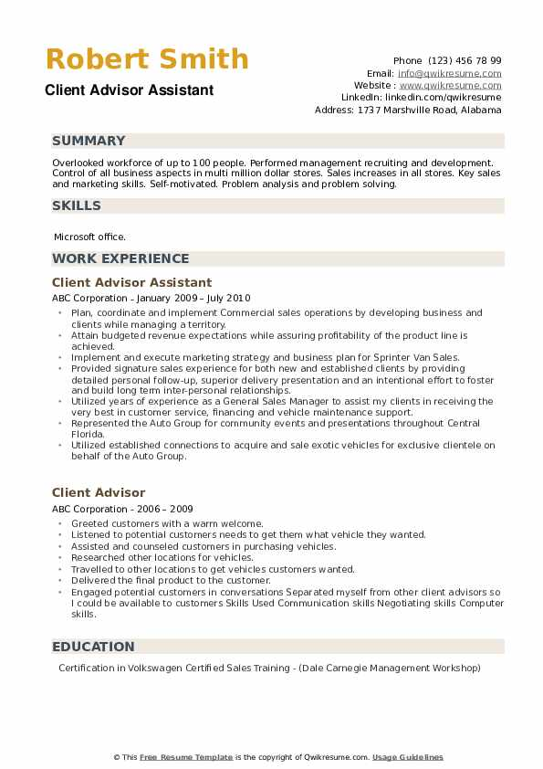 Client Advisor Assistant  Resume Sample