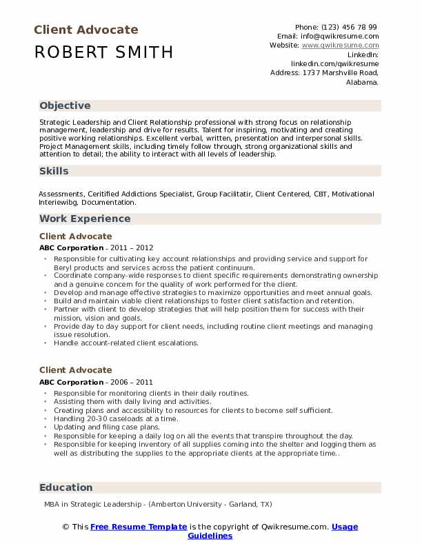 Client Advocate Resume Sample