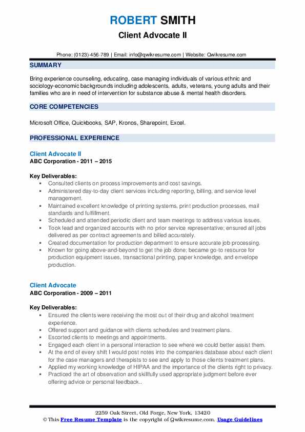 Client Advocate II Resume Template