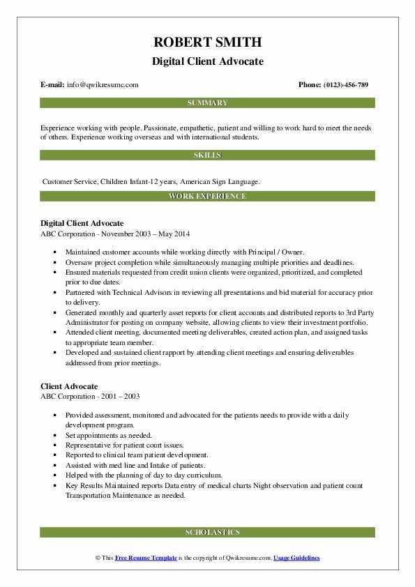 Digital Client Advocate Resume Model