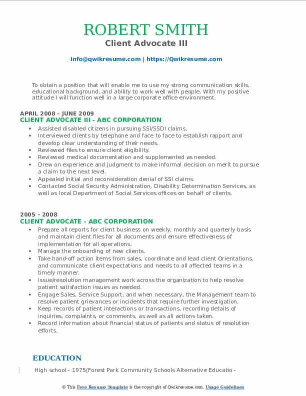 Client Advocate III Resume Format