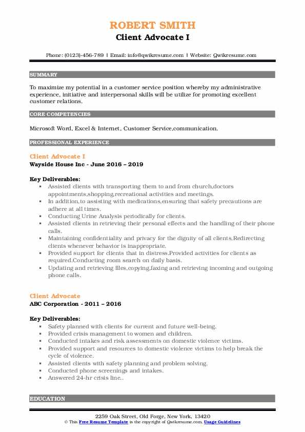 Client Advocate I Resume Example