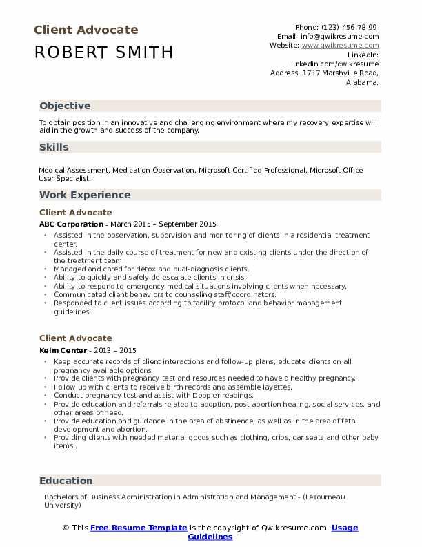 Client Advocate Resume example