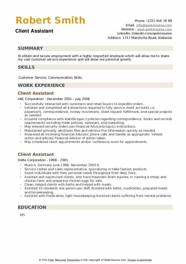 Client Assistant Resume example
