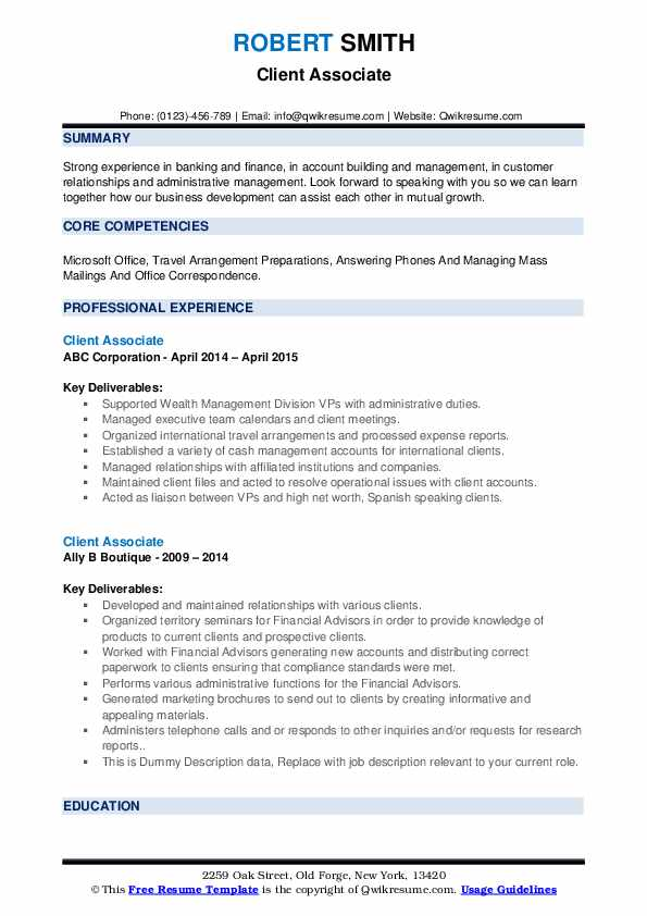 Client Associate Resume example