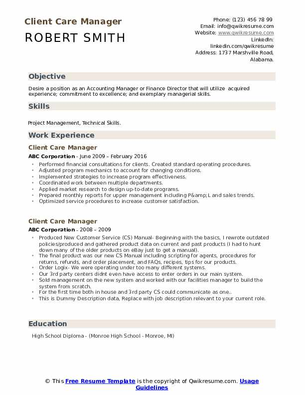 Client Care Manager Resume example