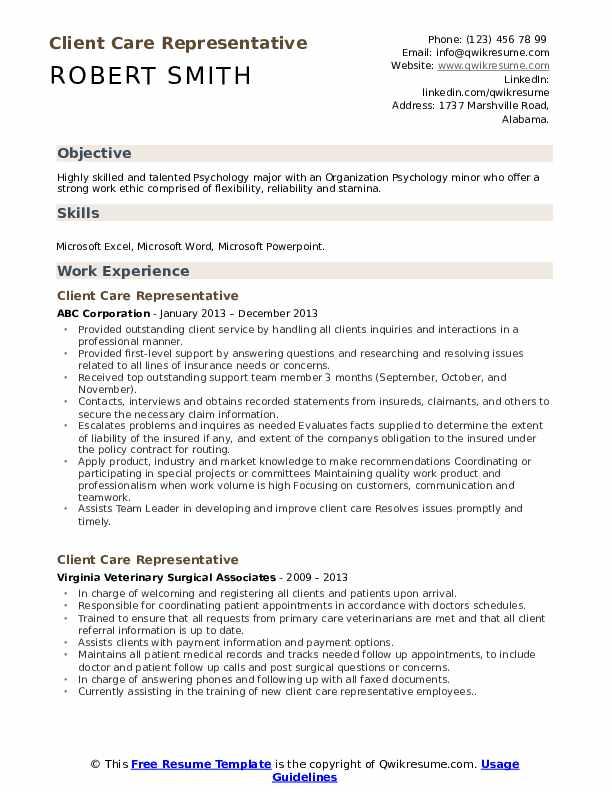 Client Care Representative Resume Template