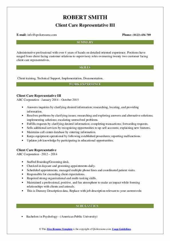 Client Care Representative III Resume Template