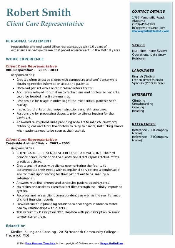 Client Care Representative Resume Format