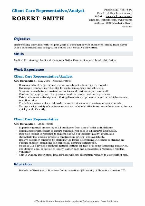 Client Care Representative/Analyst Resume Format