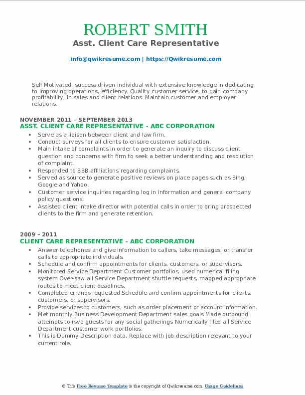 Asst. Client Care Representative Resume Example