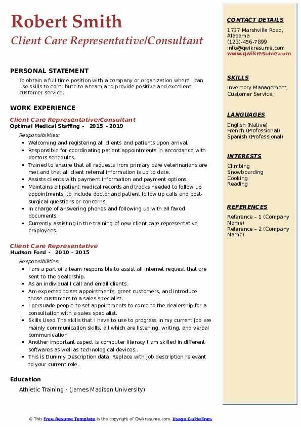 Client Care Representative/Consultant Resume Example
