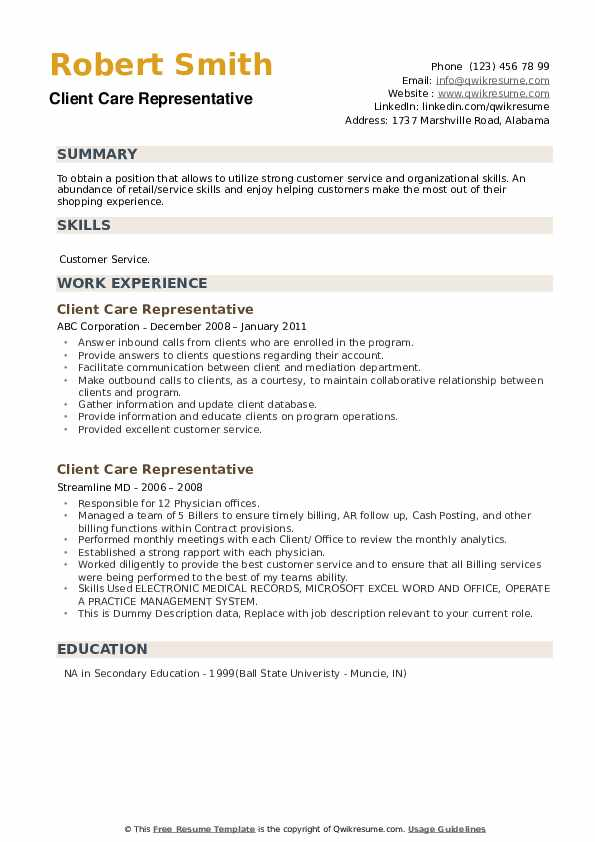 Client Care Representative Resume example