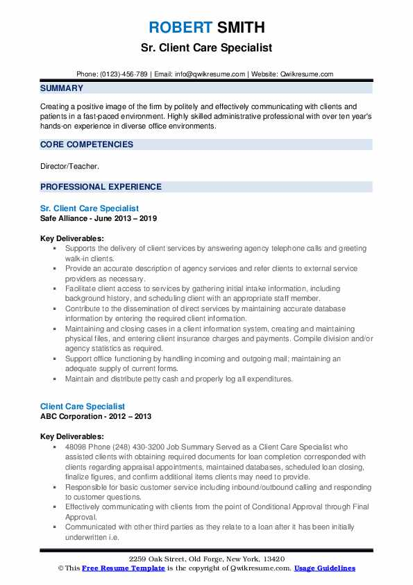 Sr. Client Care Specialist Resume Example