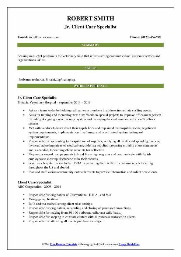 Jr. Client Care Specialist Resume Template